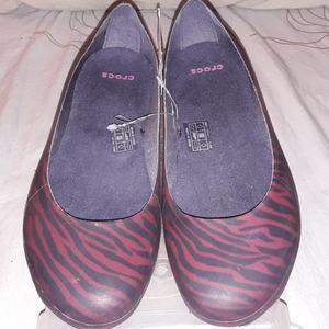 Crocs thermalucent zebra print flat